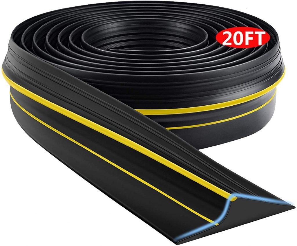 Universal Garage Door Threshold Seal Strip, Bottom Weather-Stripping Replacement Rubber Waterproof 20 FT Length
